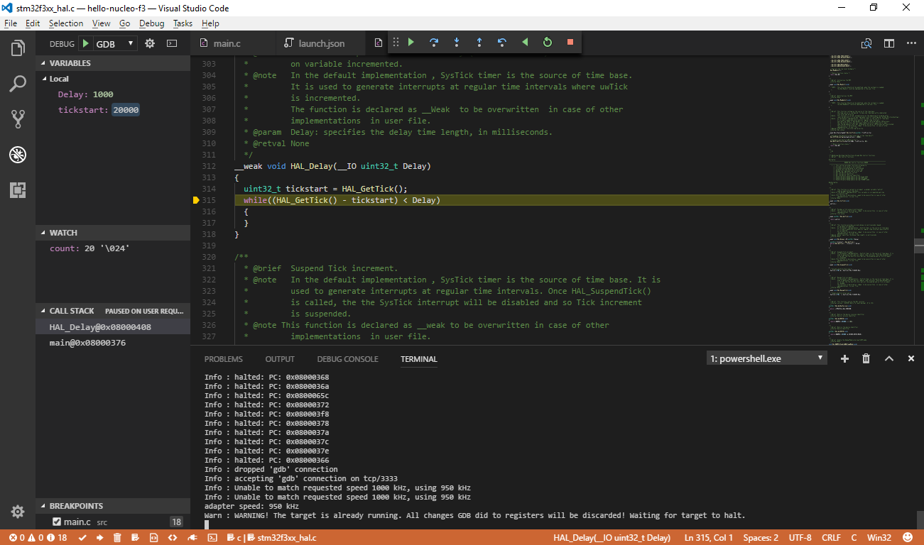 Debugger Setup with GDB + OpenOCD in Visual Studio Code